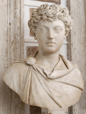 Portrait of Emperor Marcus Aurelius as a boy. Roman artwork.