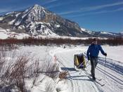 Nordic skiing on Crested Butte Nordic Center trail system just north of Crested Butte, Colorado. Freshly groomed trails. (c) TRAILSOURCE.COM