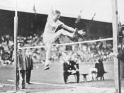 Platt Adams during the standing high jump competition at the 1912 Summer Olympics.