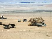 English: A U.S. Hawk surface-to-air missile battery stands ready outside Al-Salman during Operation Desert Storm.