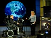 English: Stephen Hawking being presented by his daughter Lucy Hawking at the lecture he gave for NASA's 50th anniversary