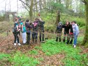 English: Youths creating a Wish Tree at Spier's Old School Grounds, Beith, Nprth Ayrshire, Scotland.