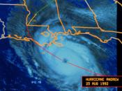 Hurricane Andrew approaching the coast of Louisiana