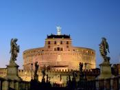 Castel Sant'Angelo from the bridge. The top statue depicts the angel from whom the building derives its name.