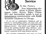 English: Advertisement for the Automatic (dial) telephone service and long distance telephone service of the Illinois Tunnel Company.