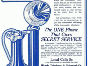 English: Advertisement for the automatic (dial) telephone service of the Illinois Telephone and Telegraph Company (successor to the Illinois Tunnel Company).