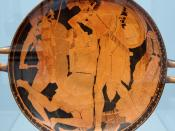 Achilles killing Penthesilea. Tondo of an Attic red-figure kylix, 470–460 BC. From Vulci.