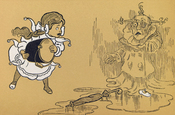 English: The Wicked Witch of The West, melting after being doused by Dorothy. From the first edition of The Wizard of Oz. Français : La méchante sorcière de l'ouest, en fusion après avoie été arrosée par Dorothy. Extrait de la première édition de Le Magic