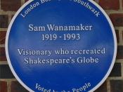 Blue plaque to Sam Wanamaker near the re-created Shakespeare's Globe Theatre, Bankside, London, England. American actor and director Sam Wanamaker was instrumental in the rebuilding of the theatre.