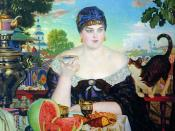 The Merchant's Wife by Boris Kustodiev, showcasing the Russian tea culture.