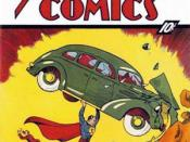 Superman making his debut in Action Comics No.1 (June 1938). Cover art by Joe Shuster.