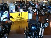 Photograph of the Big Brothers Big Sisters of Northern Nevada coat drive at Reno Harley-Davidson, 2010.