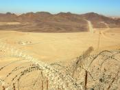 English: Looking north along Egypt-Israel border north of Eilat.