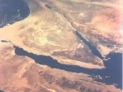 The Sinai peninsula and the present day Israel, Egypt and the Palestinian territories