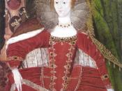 Portrait of Elizabeth I of England in Parliament robes with a column decorate with medallions representing the cardinal virtues of Justice, Prudence, Temperance and Fortitude and theological virtues of Faith, Hope and Charity.