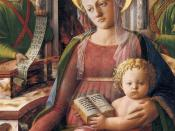 Fra Filippo Lippi - Madonna and Child Enthroned with Two Angels (detail) - WGA13176