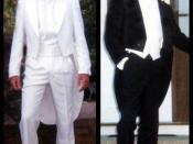 English: Men's formal clothing, black and white tuxedos.