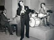 Photo of (from left) Teddy Wilson, Benny Goodman, and Mel Tormé.