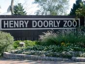 Sign for the Henry Doorly Zoo in Omaha, Nebraska