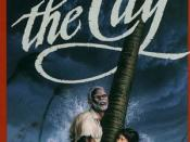Cover artwork for The Cay showing the characters trying to survive the hurricane