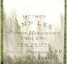 English: Mother Ann Lee tombstone 2006