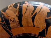 Archer watching over the Greeks placing ballots on a table to decide which of Ajax the Great and Odysseus should receive the weapons of the dead Achilles. Attic red-figured kylix, ca. 490-480 BC. From Vulci.