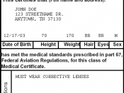 Sample FAA airman medical certificate.