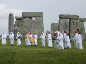 Druids celebrationg rituals at Stonehenge.