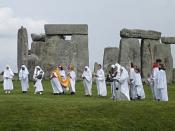 Druids celebrationg rituals at Stonehenge.