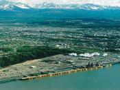 English: Aerial view of the Port of Anchorage, Alaska, USA.