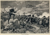 Allan Quatermain orders his men to fire in this illustration by Thure de Thulstrup from Maiwa's Revenge (1888).