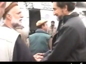 Ahmad Shah Massoud (right) greets Pashtun anti-Taliban leader and later Vice President of Afghanistan Haji Abdul Qadir