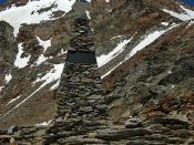 The Ötzi memorial on Tiesenjoch, near the Similaun mountain, where Ötzi the Iceman was found, in the Ötztal Alps