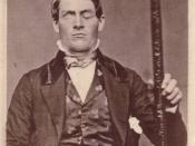 Phineas Gage displaying ptosis after his famous brain injury