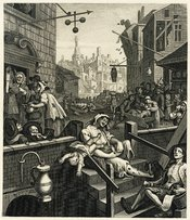 William Hogarth's engraving Gin Lane, as reproduced by Samuel Davenport for his 1807 collection of Hogarth's works. A response to the Gin Craze that hit London in the 18th century, and was blamed for public drunkenness and numerous social problems.