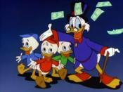 Scrooge stars alongside his grandnephews on DuckTales.
