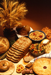A variety of foods made from wheat.