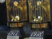 English: the New York Yankees' World Series trophies from 1977 and 1978 on display at the Yankees Museum in Yankee Stadium.