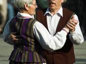 English: Old man and old woman, traditional Lithuanian dance