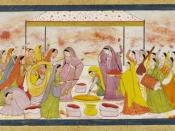 English: Radha celebrating Holi, c1788. (digitally enhanced version) Kangra, India.