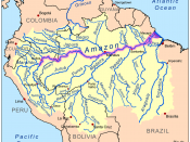 This is a map of the Amazon River drainage basin with the Amazon River highlighted.