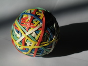 English: Rubber band ball (this is a new version as the old one was blurry)
