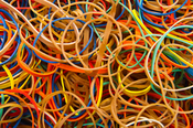 English: Rubber bands in different colors. Studio photo taken.