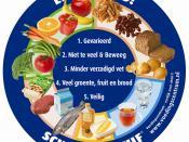 Nederlands: De Schijf van Vijf is een hulpmiddel dat in een oogopslag laat zien hoe je gezond kunt eten. De 5 vakken laten zien met wat voor soort producten je je lichaam gezond kunt houden. Kies liefst elke dag producten uit alle vakken en varieer zo vee