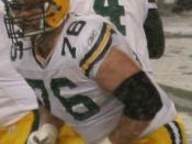 English: Packers on offense during a Monday Night football game against seattle seahawks