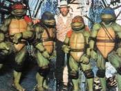 Henson on the set of Teenage Mutant Ninja Turtles in 1990.