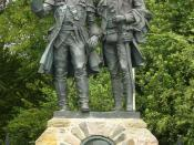 English: Alexander Stoddart's 'Kidnapped' statue at Corstorphine, Edinburgh, depicting the characters David Balfour and Alan Breck Stewart at their final parting on Corstorphine Hill (unveiled 2004) Français : Bronze d'Alexander Stoddart situé à Costorphi