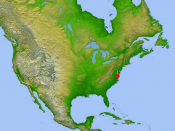 Location of the crater in North America.