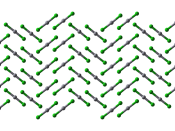 Ball-and-stick model of part of the crystal structure of mercury(II) chloride, HgCl 2 . X-ray diffraction data from Acta Cryst. (1980). B36, 2132-2135. Model constructed in CrystalMaker 8.1. Image generated in Accelrys DS Visualizer.