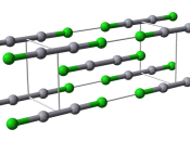 Ball-and-stick model of the unit cell of calomel, mercury(I) chloride, Hg 2 Cl 2 . Structural data from the CrystalMaker 8.1 structure library, originally from Calos N J, Kennard C H L, Davis R L (1989) Zeitschrift für Kristallographie 187:305-.